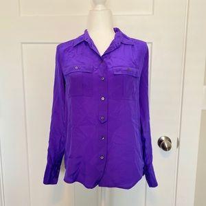 JCrew Purple Button Down Long Sleeve Silk Shirt